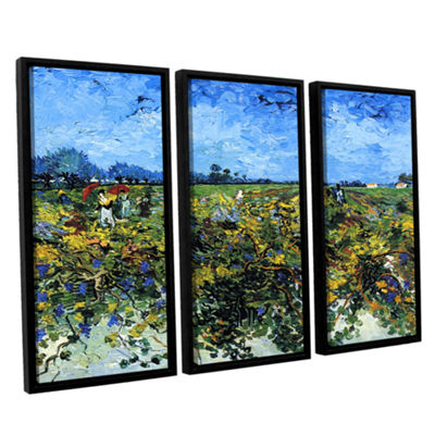 Brushstone Green Vineyard 3-pc. Floater Framed Canvas Wall Art