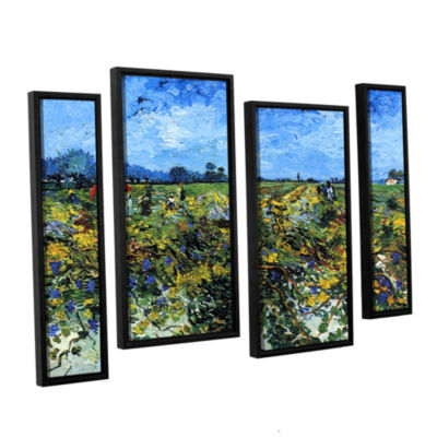 Brushstone Green Vineyard 4-pc. Floater Framed Staggered Canvas Wall Art