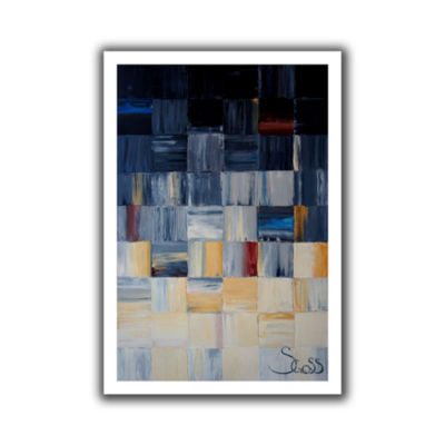 Brushstone Grey Squares Canvas Wall Art