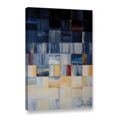 Brushstone Grey Squares Gallery Wrapped Canvas Wall Art