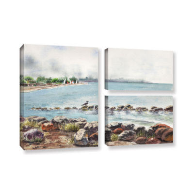 Brushstone Hazy Morning Crab Cove 3-pc. Flag Gallery Wrapped Canvas Wall Art