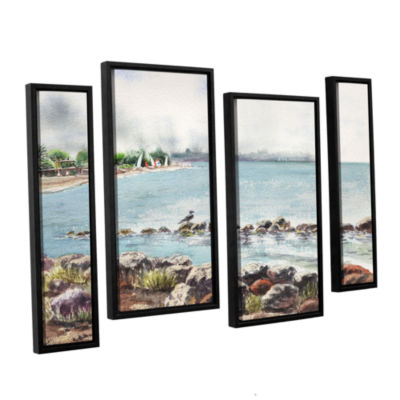 Brushstone Hazy Morning Crab Cove 4-pc. Floater Framed Staggered Canvas Wall Art