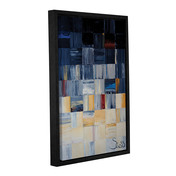 Brushstone Grey Squares Gallery Wrapped Floater-Framed Canvas Wall Art
