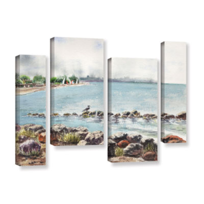Brushstone Hazy Morning Crab Cove 4-pc. Gallery Wrapped Staggered Canvas Wall Art
