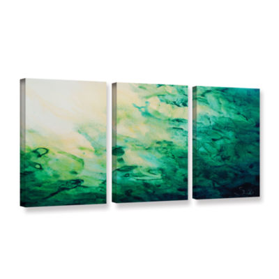 Brushstone Green Watery Abstract 3-pc. Gallery Wrapped Canvas Wall Art