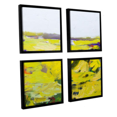 Brushstone Hot And Dry 4-pc. Square Floater FramedCanvas Wall Art
