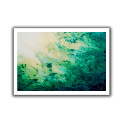 Brushstone Green Watery Abstract Canvas Wall Art