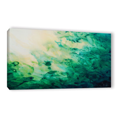 Brushstone Green Watery Abstract Gallery Wrapped Canvas Wall Art