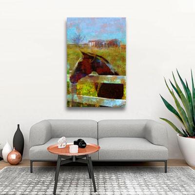 Brushstone Horse Field Gallery Wrapped Canvas WallArt