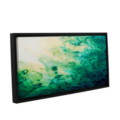 Brushstone Green Watery Abstract Gallery Wrapped Floater-Framed Canvas Wall Art