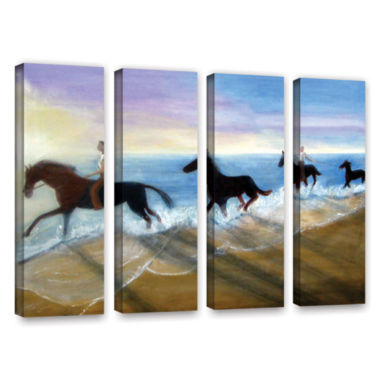 Brushstone Horses On The Beach Painting 4-pc. Gallery Wrapped Canvas Wall Art