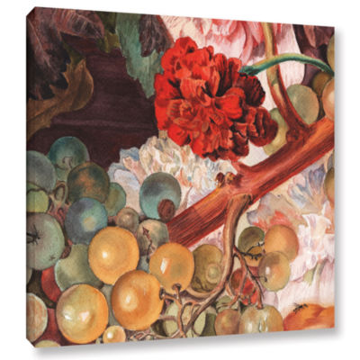 Brushstone Grapes And Flowers Gallery Wrapped Canvas Wall Art