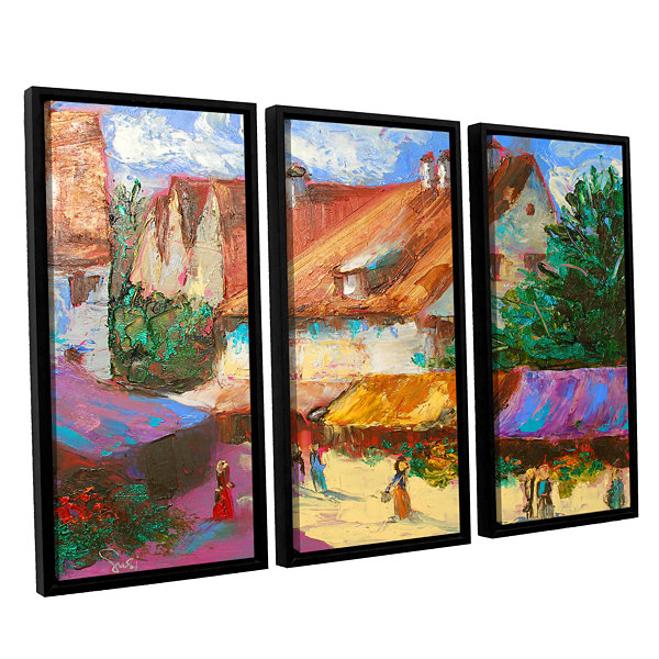 Brushstone Rhone Village Market 3-pc. Floater Framed Canvas Wall Art