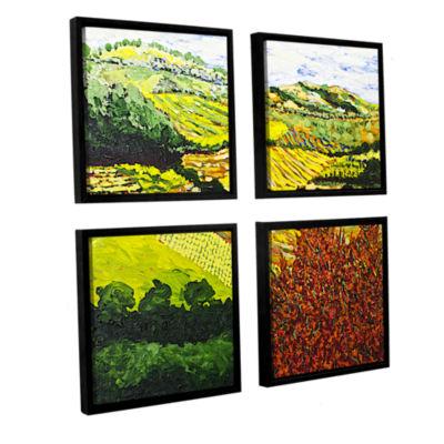 Brushstone Red Bush 4-pc. Square Floater Framed Canvas Wall Art