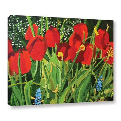 Brushstone Red; White; And Blue Gallery Wrapped Canvas Wall Art
