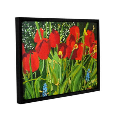 Brushstone Red; White; And Blue Gallery Wrapped Floater-Framed Canvas Wall Art