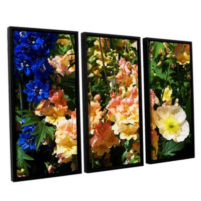 Brushstone Pink Poppy 3-pc. Floater Framed CanvasWall Art