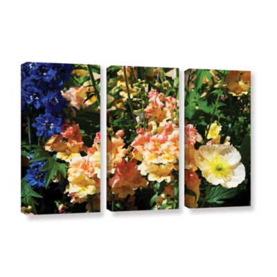 Brushstone Pink Poppy 3-pc. Gallery Wrapped CanvasWall Art