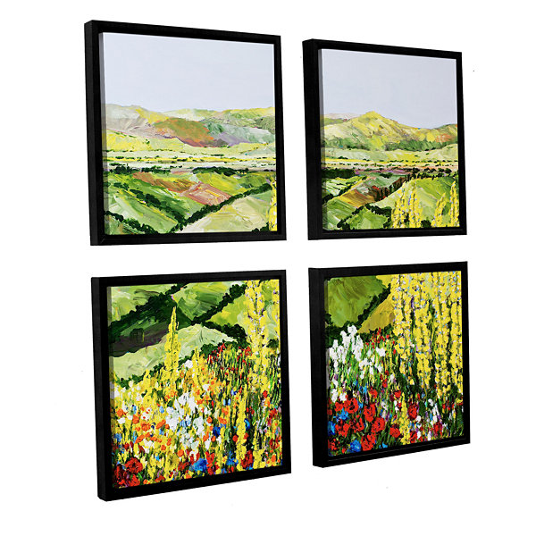 Brushstone Rolling Fields 4-pc. Square Floater Framed Canvas Wall Art