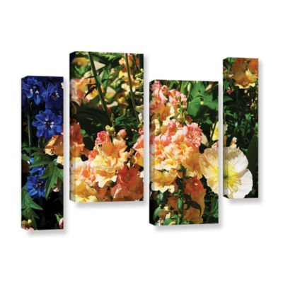Brushstone Pink Poppy 4-pc. Gallery Wrapped Staggered Canvas Wall Art