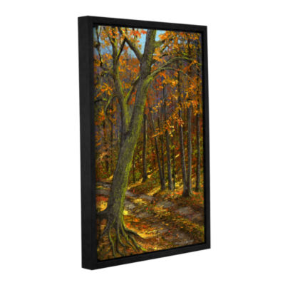 Brushstone Road In The Woods Gallery Wrapped Floater-Framed Canvas Wall Art