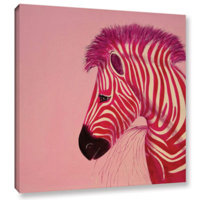 Brushstone Pink Zebra Gallery Wrapped Canvas WallArt