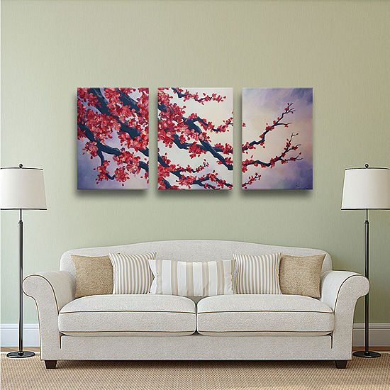 Brushstone Red Cherry Blossom 3-pc. Gallery Wrapped Canvas Wall Art