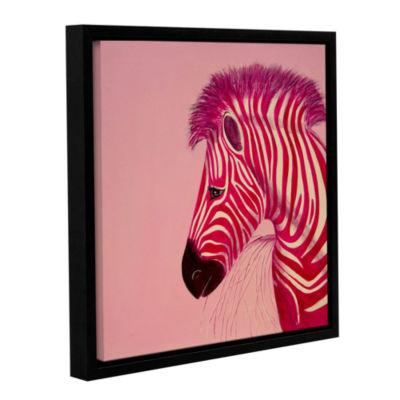 Brushstone Pink Zebra Gallery Wrapped Floater-Framed Canvas Wall Art