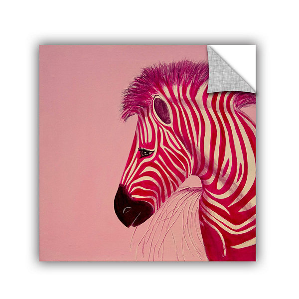 Brushstone Pink Zebra Removable Wall Decal