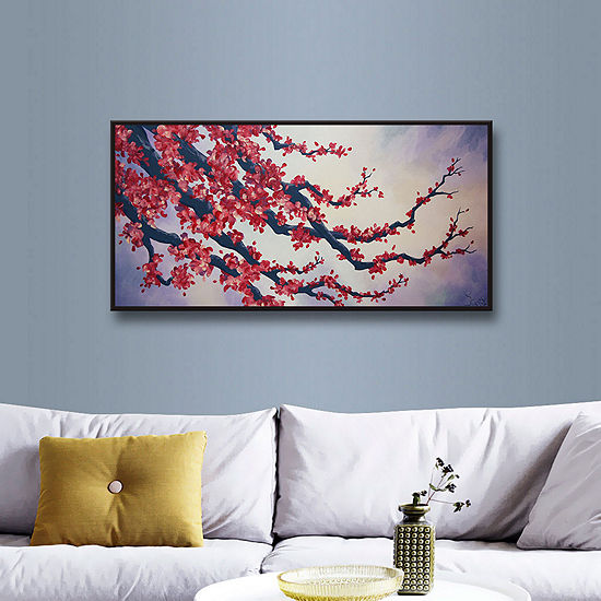 Brushstone Red Cherry Blossom Gallery Wrapped Floater-Framed Canvas Wall Art