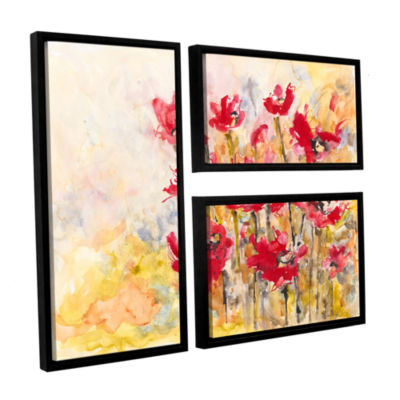 Brushstone Poppy Field (Karin Johannesson) 3-pc. Flag Floater Framed Canvas Wall Art