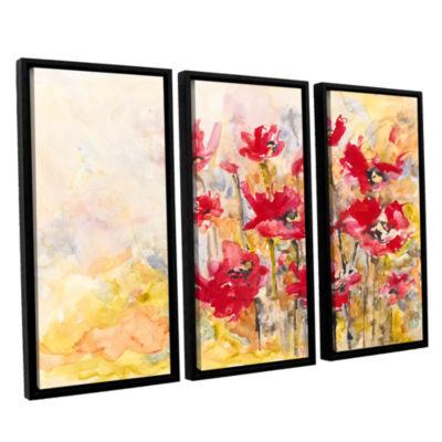 Brushstone Poppy Field (Karin Johannesson) 3-pc. Floater Framed Canvas Wall Art