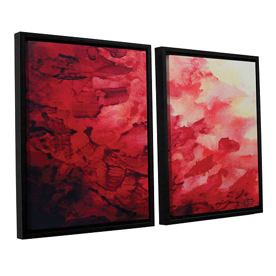 Brushstone Red Watery Abstract 2 Pc Floater Framed Canvas Wall Art