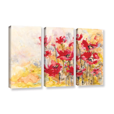 Brushstone Poppy Field (Karin Johannesson) 3-pc. Gallery Wrapped Canvas Wall Art