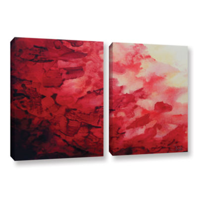 Brushstone Red Watery Abstract 2-pc. Gallery Wrapped Canvas Wall Art