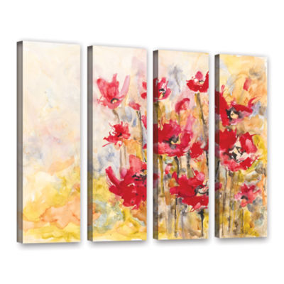 Brushstone Poppy Field (Karin Johannesson) 4-pc. Gallery Wrapped Canvas Wall Art