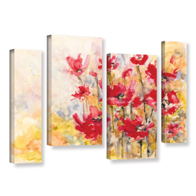 Brushstone Poppy Field (Karin Johannesson) 4-pc. Gallery Wrapped Staggered Canvas Wall Art