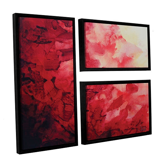 Brushstone Red Watery Abstract 3 Pc Flag Floater Framed Canvas Wall Art