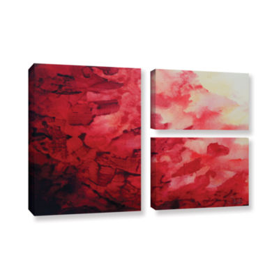 Brushstone Red Watery Abstract 3-pc. Flag Gallery Wrapped Canvas Wall Art