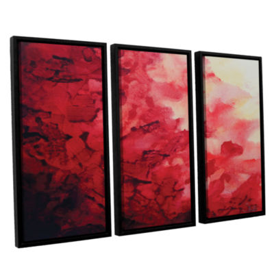 Brushstone Red Watery Abstract 3-pc. Floater Framed Canvas Wall Art