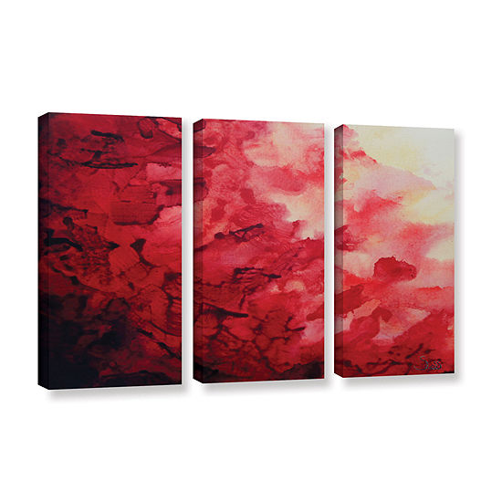 Brushstone Red Watery Abstract 3-pc. Gallery Wrapped Canvas Wall Art