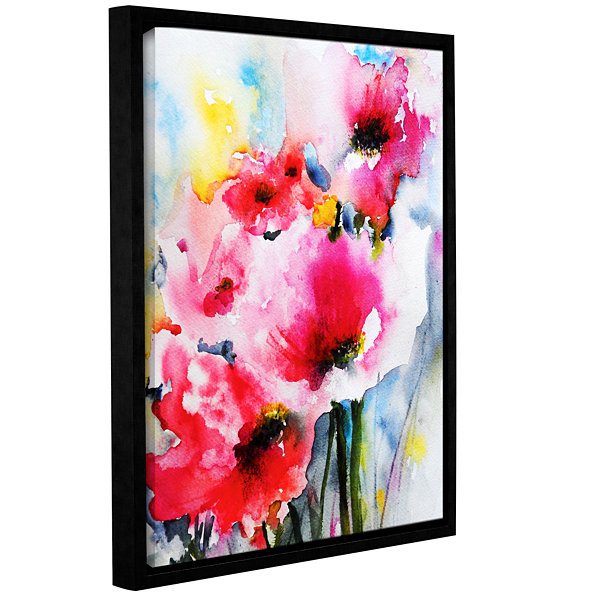 Brushstone Pink Poppies Gallery Wrapped Floater-Framed Canvas Wall Art
