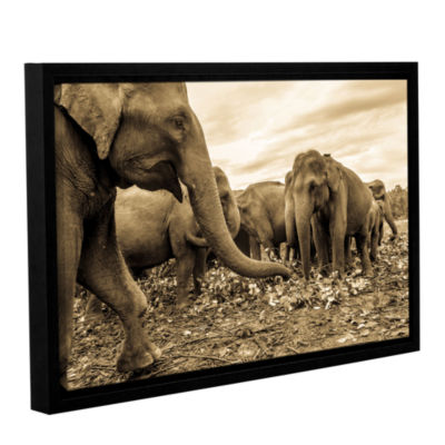 Brushstone Playing Elephants Gallery Wrapped Floater-Framed Canvas Wall Art