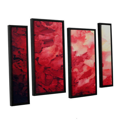 Brushstone Red Watery Abstract 4-pc. Floater Framed Staggered Canvas Wall Art