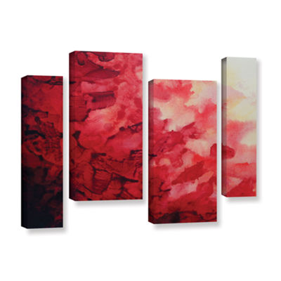 Brushstone Red Watery Abstract 4-pc. Gallery Wrapped Staggered Canvas Wall Art