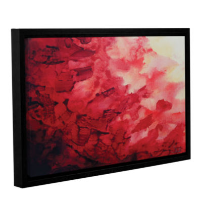 Brushstone Red Watery Abstract Gallery Wrapped Floater-Framed Canvas Wall Art