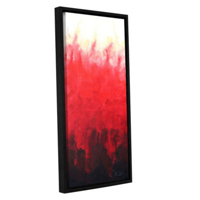 Brushstone Red Watery Gallery Wrapped Floater-Framed Canvas Wall Art