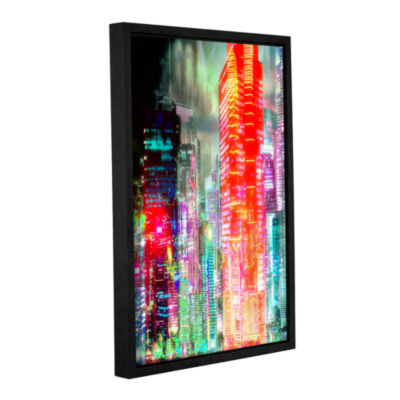 Brushstone Red Glow Gallery Wrapped Floater-FramedCanvas Wall Art