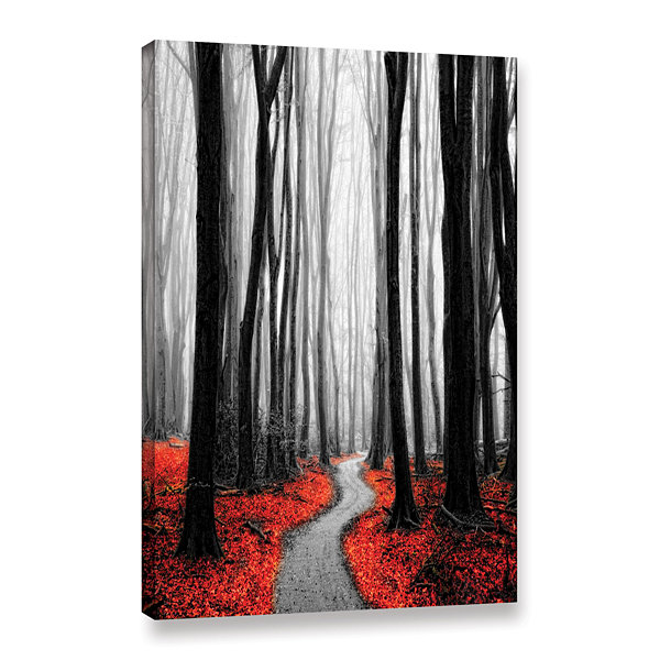 Brushstone Red Leafs Iv Gallery Wrapped Canvas Wall Art
