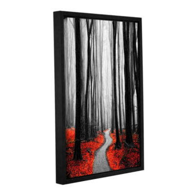 Brushstone Red Leafs Iv Gallery Wrapped Floater-Framed Canvas Wall Art